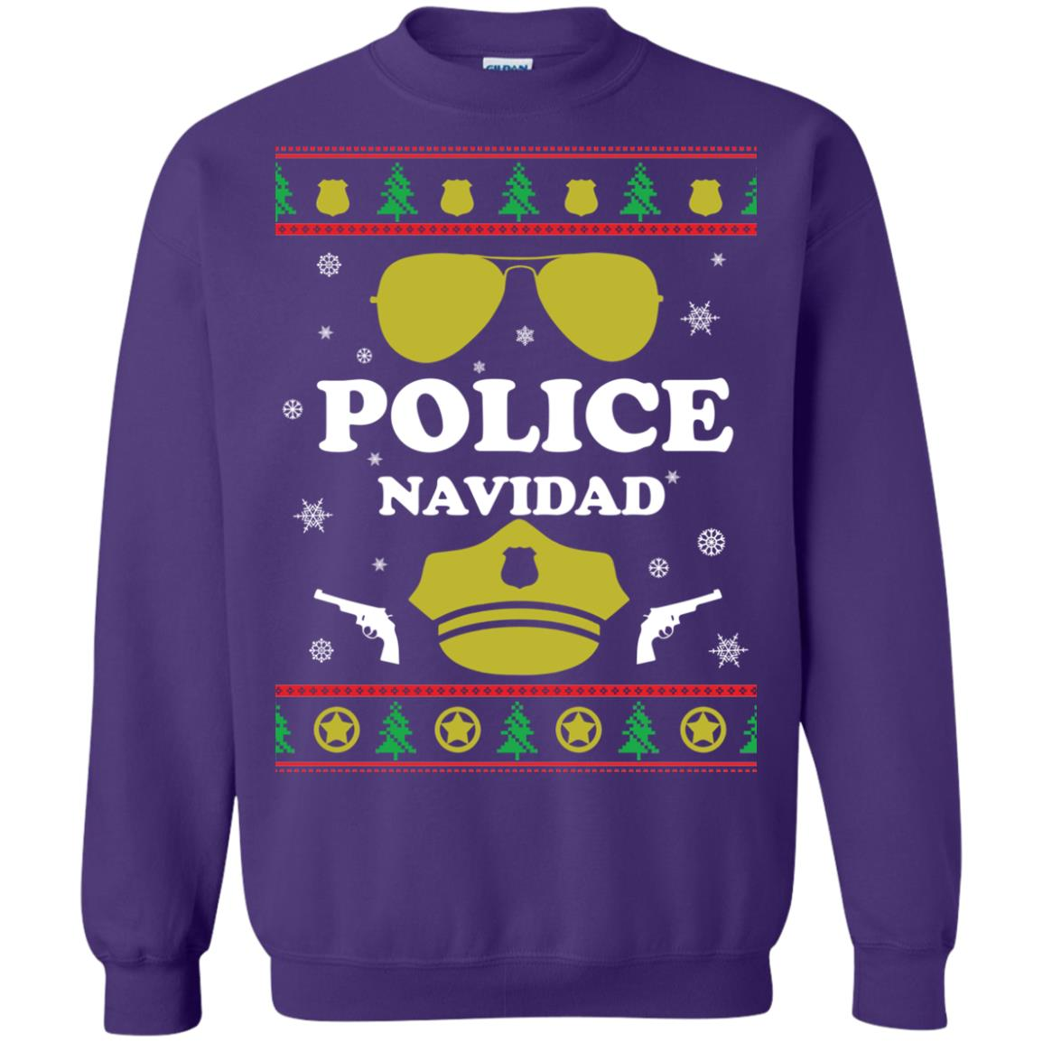 image 101px Police Navidad Christmas Sweater, Long Sleeve
