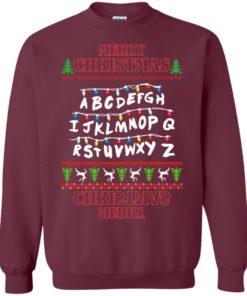 image 1150 247x296px Merry Christmas Stranger Things Alphabet Christmas Sweater