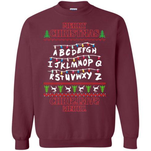image 1150 490x490px Merry Christmas Stranger Things Alphabet Christmas Sweater