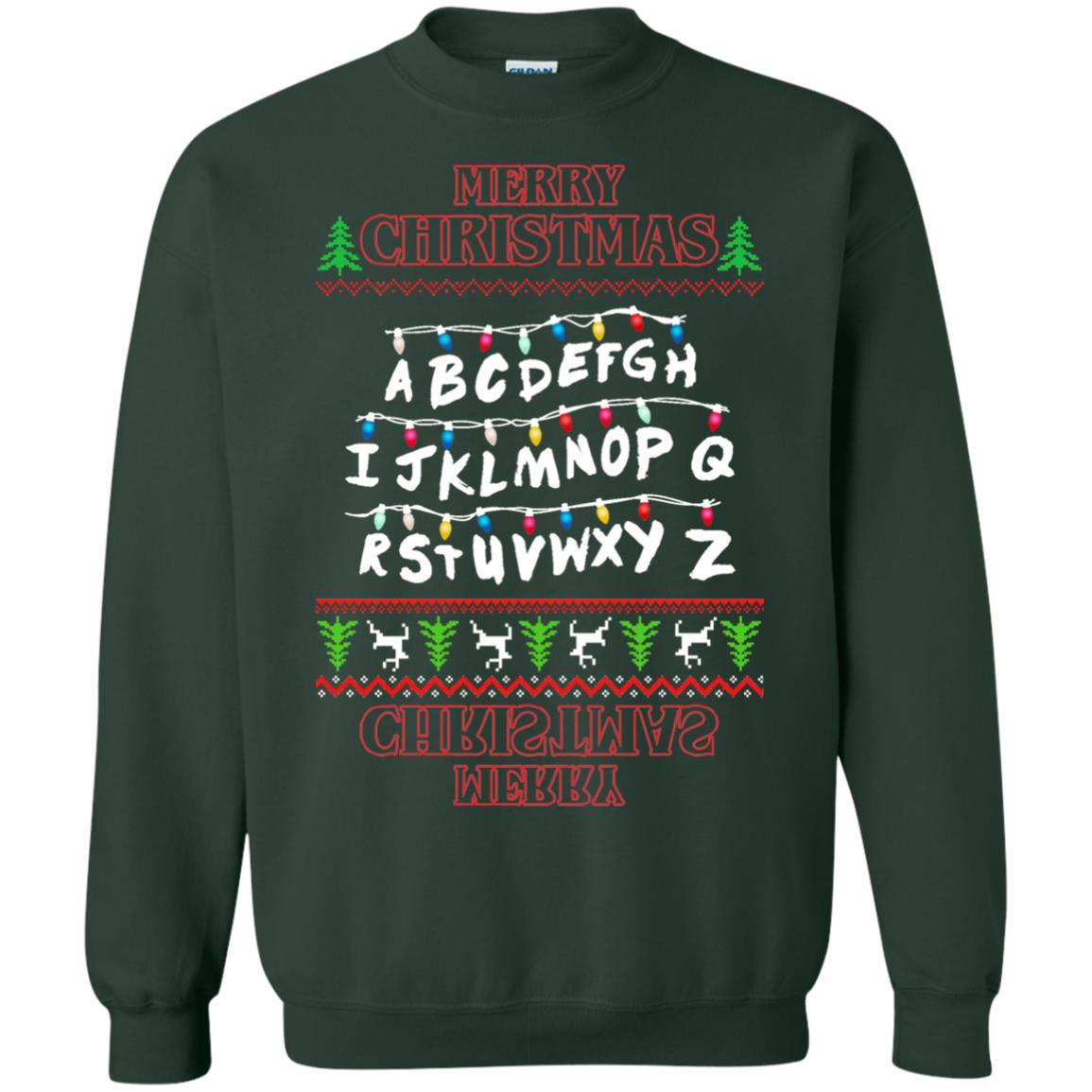 image 1152px Merry Christmas Stranger Things Alphabet Christmas Sweater