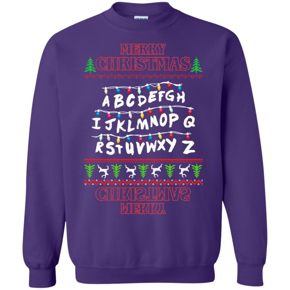 image 1155px Merry Christmas Stranger Things Alphabet Christmas Sweater