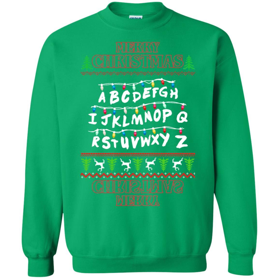 image 1156px Merry Christmas Stranger Things Alphabet Christmas Sweater