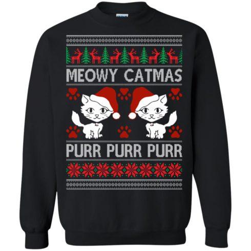 image 1165 490x490px Meowy Catmas Purr Purr Christmas Sweater, Cat Lover Sweatshirt