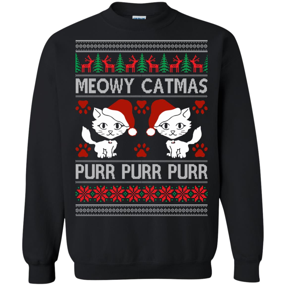 image 1165px Meowy Catmas Purr Purr Christmas Sweater, Cat Lover Sweatshirt