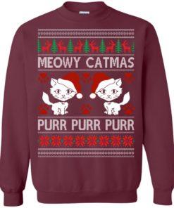 image 1166 247x296px Meowy Catmas Purr Purr Christmas Sweater, Cat Lover Sweatshirt