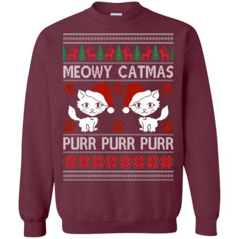 image 1166 490x490px Meowy Catmas Purr Purr Christmas Sweater, Cat Lover Sweatshirt