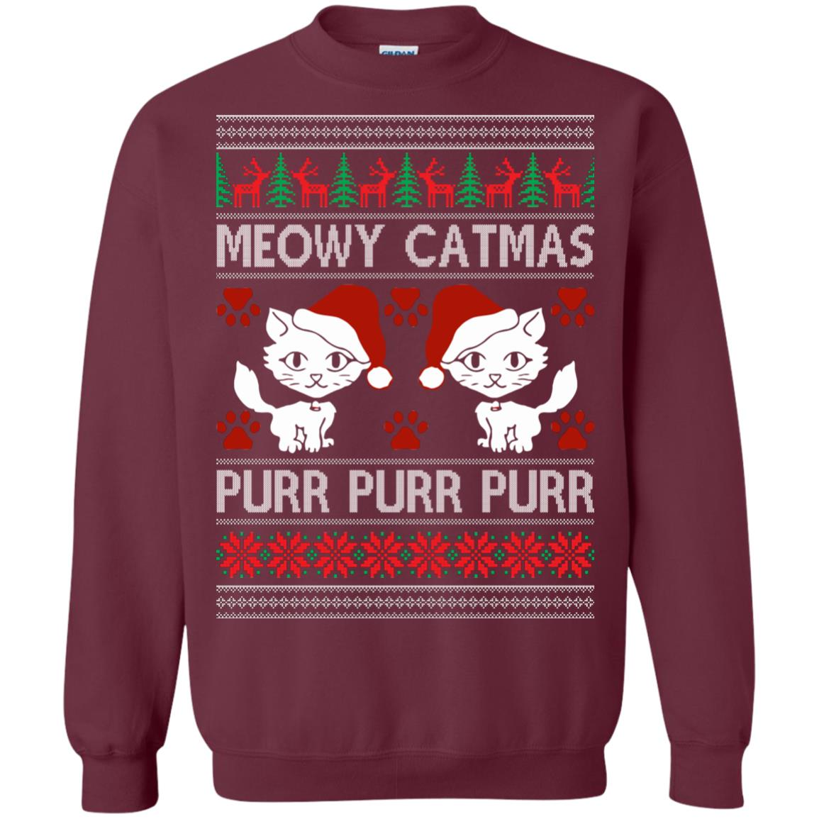 image 1166px Meowy Catmas Purr Purr Christmas Sweater, Cat Lover Sweatshirt