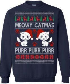 image 1167 247x296px Meowy Catmas Purr Purr Christmas Sweater, Cat Lover Sweatshirt