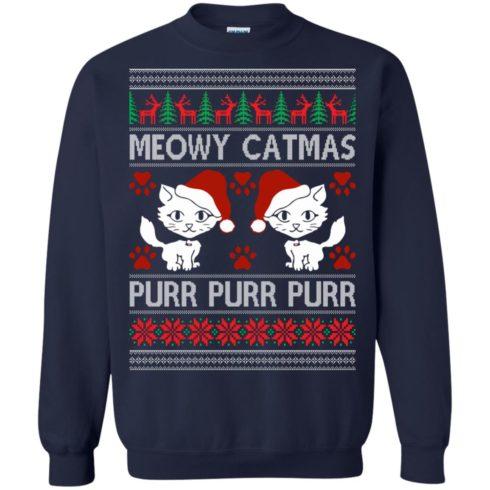 image 1167 490x490px Meowy Catmas Purr Purr Christmas Sweater, Cat Lover Sweatshirt