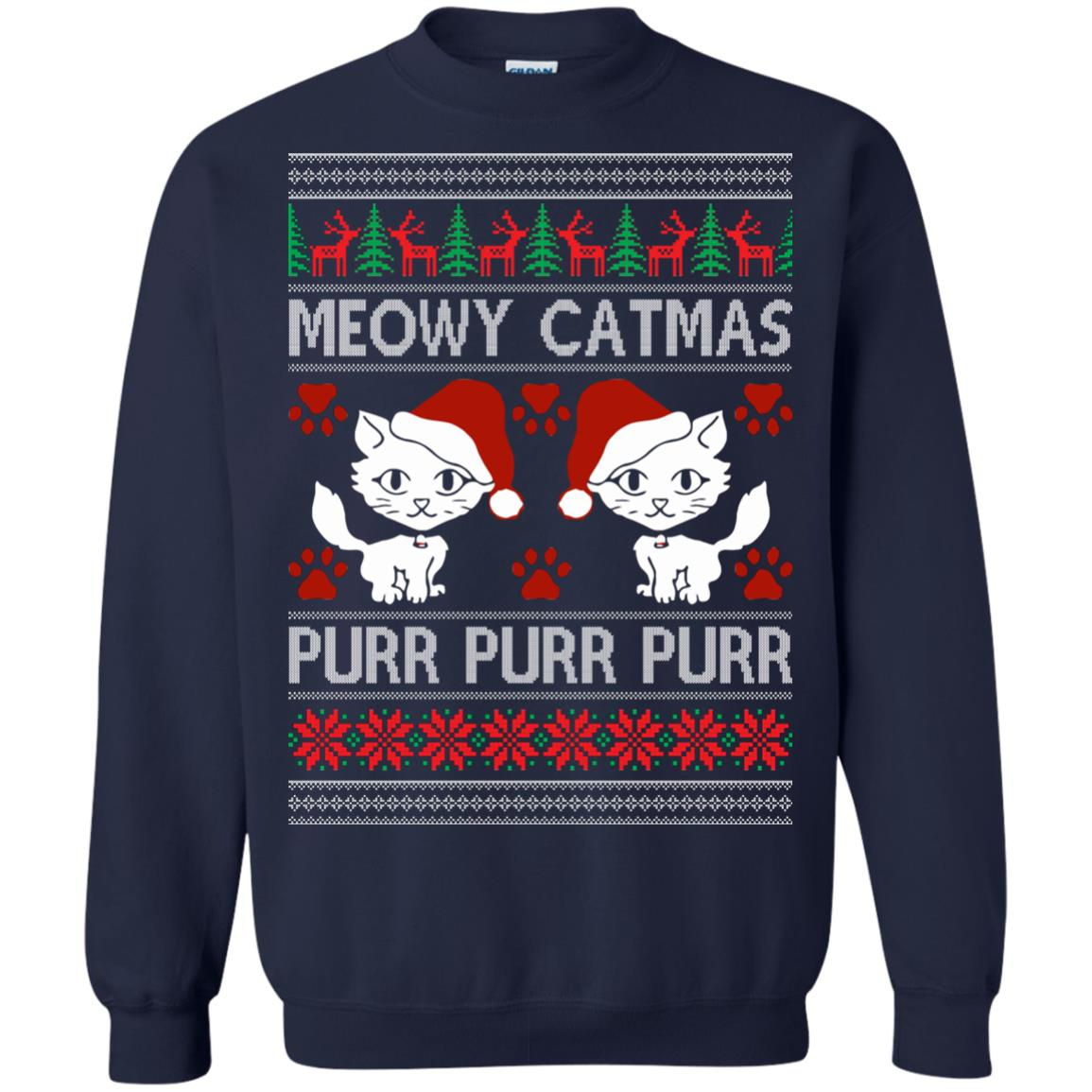 image 1167px Meowy Catmas Purr Purr Christmas Sweater, Cat Lover Sweatshirt