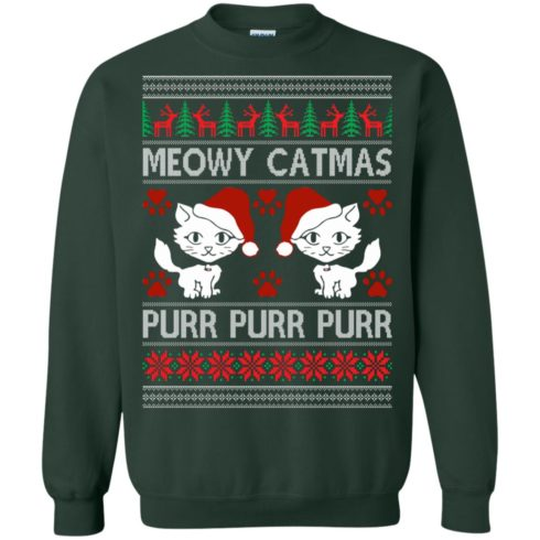 image 1168 490x490px Meowy Catmas Purr Purr Christmas Sweater, Cat Lover Sweatshirt