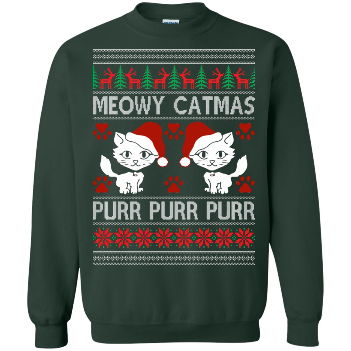 image 1168px Meowy Catmas Purr Purr Christmas Sweater, Cat Lover Sweatshirt
