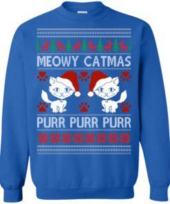 image 1169 247x296px Meowy Catmas Purr Purr Christmas Sweater, Cat Lover Sweatshirt