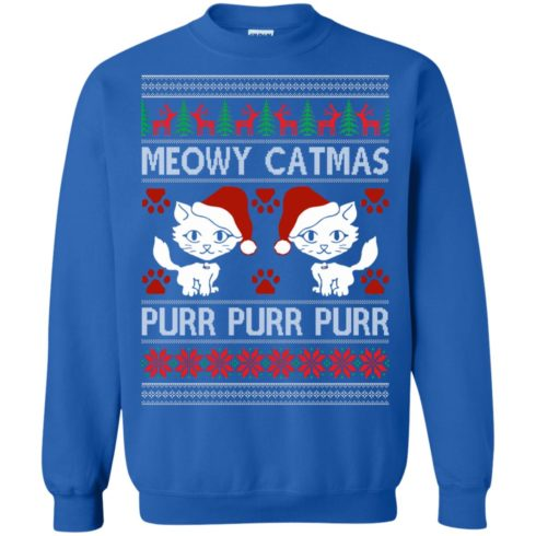 image 1169 490x490px Meowy Catmas Purr Purr Christmas Sweater, Cat Lover Sweatshirt