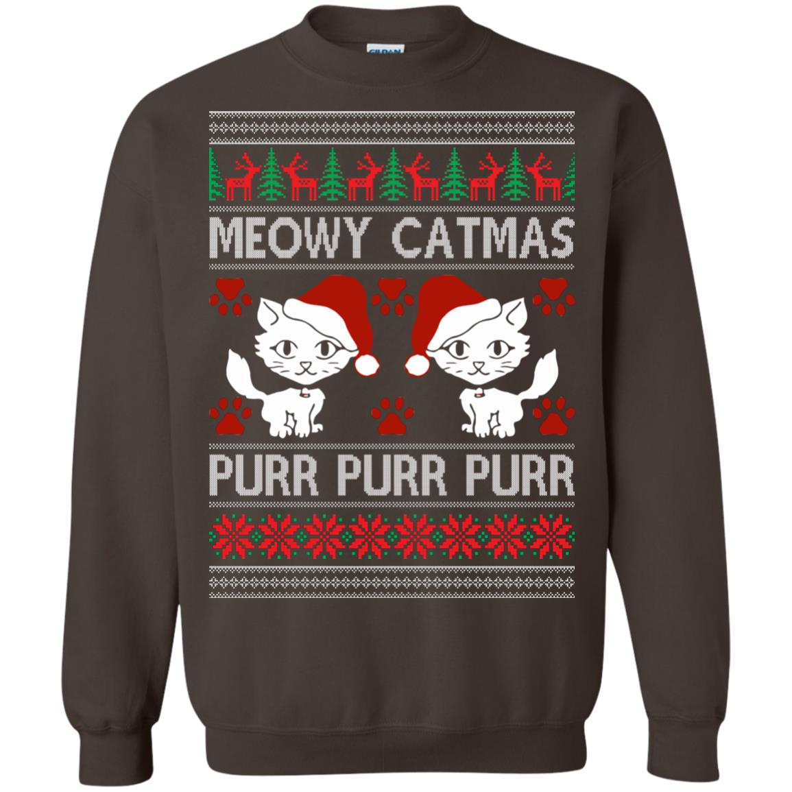 image 1170px Meowy Catmas Purr Purr Christmas Sweater, Cat Lover Sweatshirt