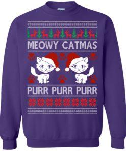 image 1171 247x296px Meowy Catmas Purr Purr Christmas Sweater, Cat Lover Sweatshirt