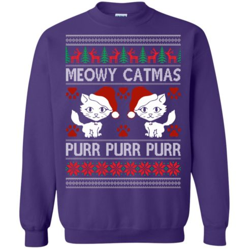 image 1171 490x490px Meowy Catmas Purr Purr Christmas Sweater, Cat Lover Sweatshirt