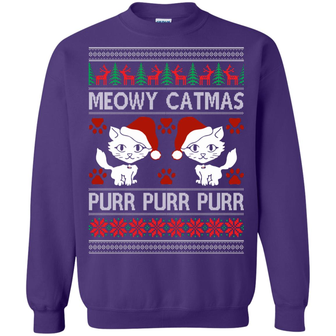 image 1171px Meowy Catmas Purr Purr Christmas Sweater, Cat Lover Sweatshirt