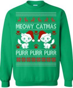 image 1172 247x296px Meowy Catmas Purr Purr Christmas Sweater, Cat Lover Sweatshirt