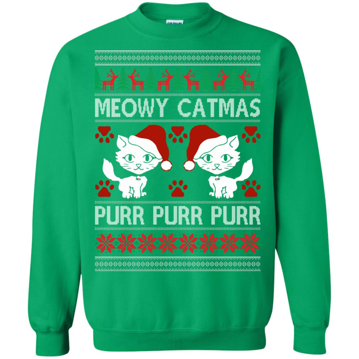 image 1172px Meowy Catmas Purr Purr Christmas Sweater, Cat Lover Sweatshirt