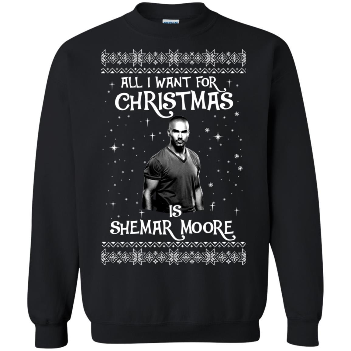 image 1181px All I Want For Christmas Is Shemar Moore Christmas Sweatshirt