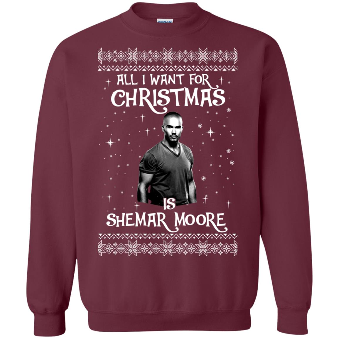 image 1182px All I Want For Christmas Is Shemar Moore Christmas Sweatshirt