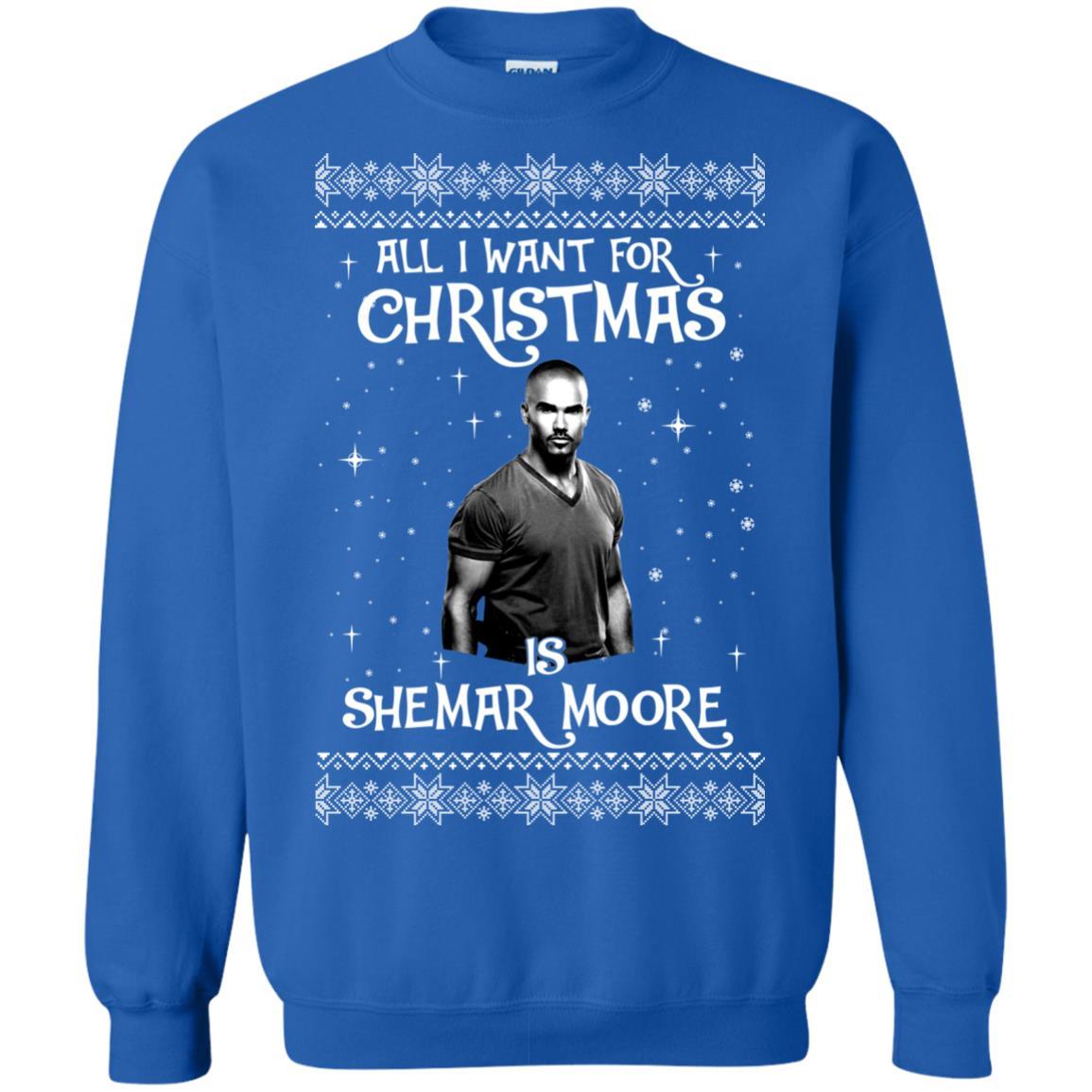 image 1185px All I Want For Christmas Is Shemar Moore Christmas Sweatshirt