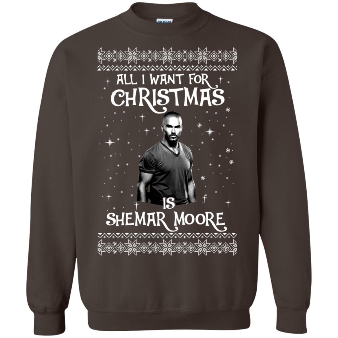 image 1186px All I Want For Christmas Is Shemar Moore Christmas Sweatshirt