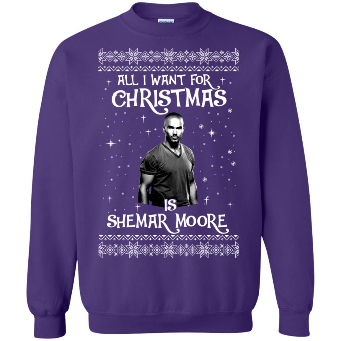 image 1187px All I Want For Christmas Is Shemar Moore Christmas Sweatshirt