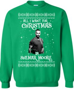 image 1188 247x296px All I Want For Christmas Is Shemar Moore Christmas Sweatshirt