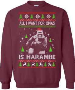 image 1198 247x296px All I Want For Christmas Is Harambe Christmas Sweater