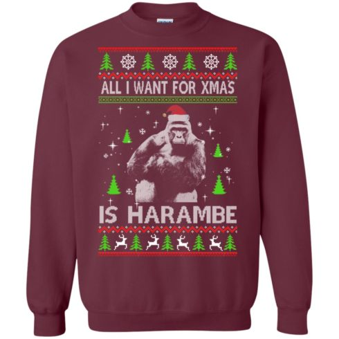 image 1198 490x490px All I Want For Christmas Is Harambe Christmas Sweater