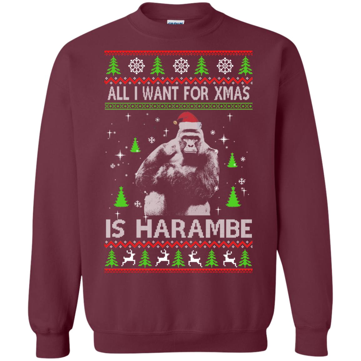 image 1198px All I Want For Christmas Is Harambe Christmas Sweater
