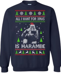 image 1199 247x296px All I Want For Christmas Is Harambe Christmas Sweater