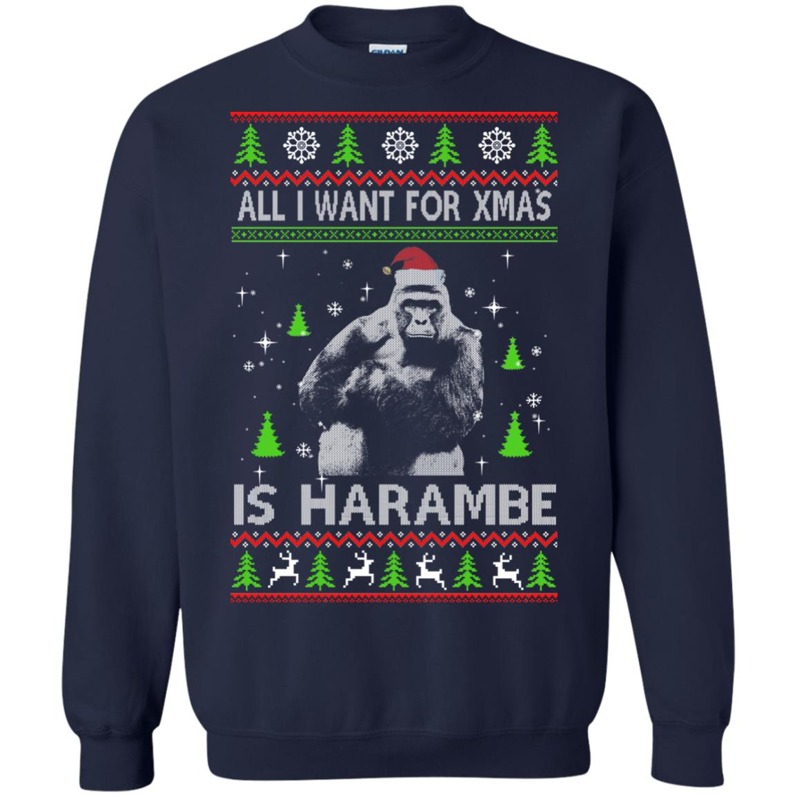 image 1199px All I Want For Christmas Is Harambe Christmas Sweater