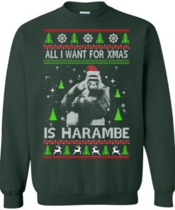 image 1200 247x296px All I Want For Christmas Is Harambe Christmas Sweater