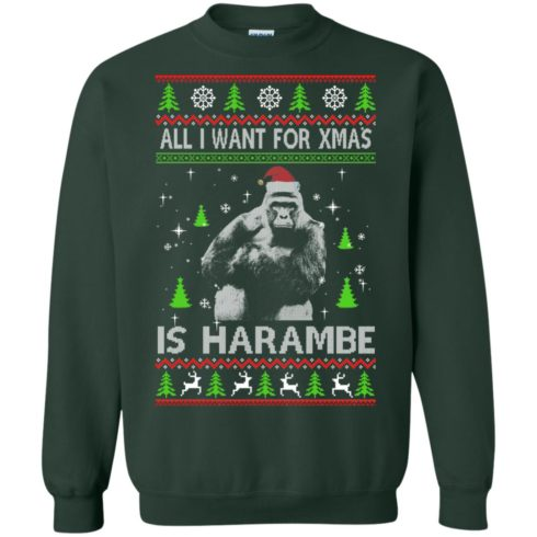 image 1200 490x490px All I Want For Christmas Is Harambe Christmas Sweater