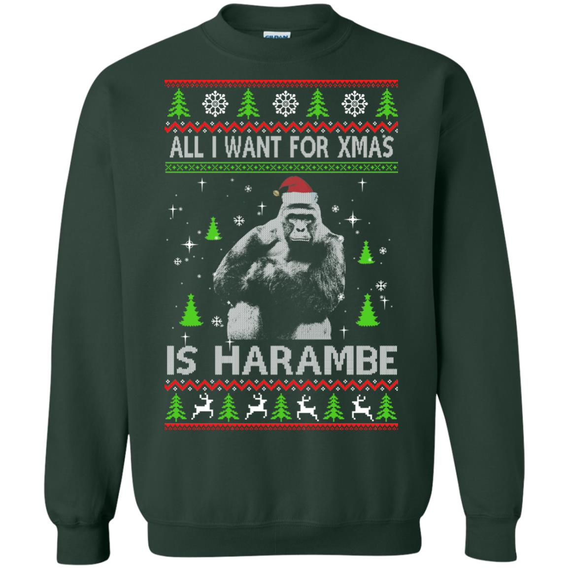 image 1200px All I Want For Christmas Is Harambe Christmas Sweater