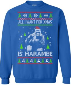 image 1201 247x296px All I Want For Christmas Is Harambe Christmas Sweater