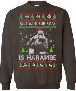image 1202 247x296px All I Want For Christmas Is Harambe Christmas Sweater