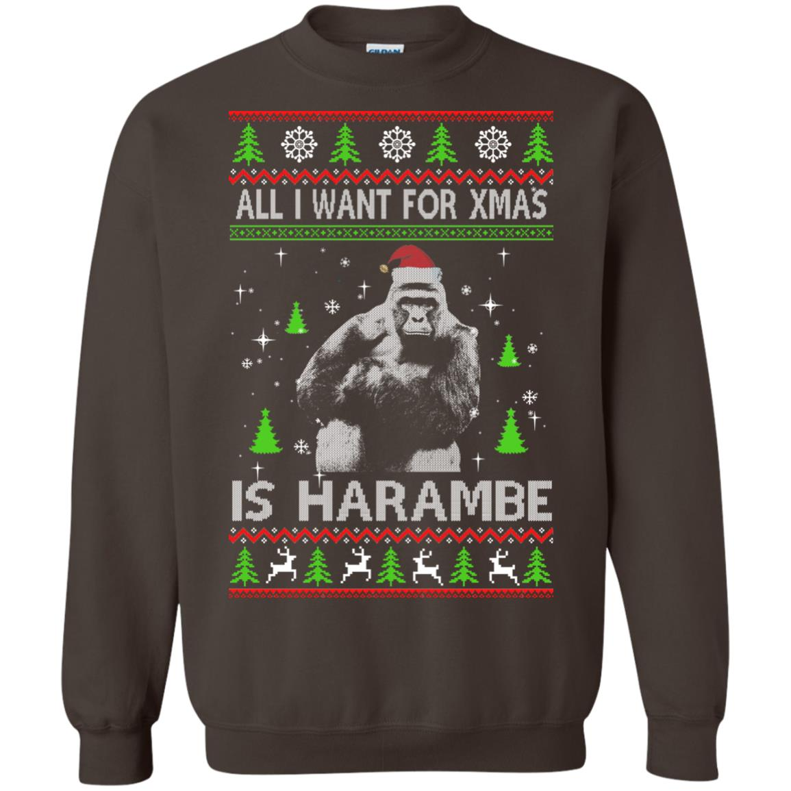 image 1202px All I Want For Christmas Is Harambe Christmas Sweater