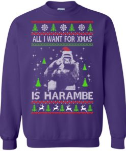 image 1203 247x296px All I Want For Christmas Is Harambe Christmas Sweater