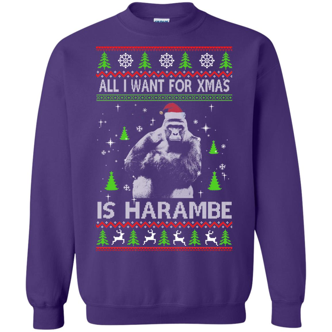 image 1203px All I Want For Christmas Is Harambe Christmas Sweater