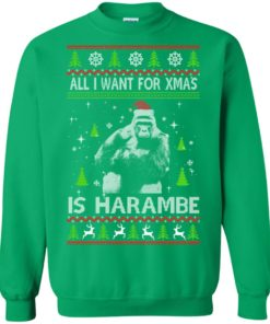image 1204 247x296px All I Want For Christmas Is Harambe Christmas Sweater