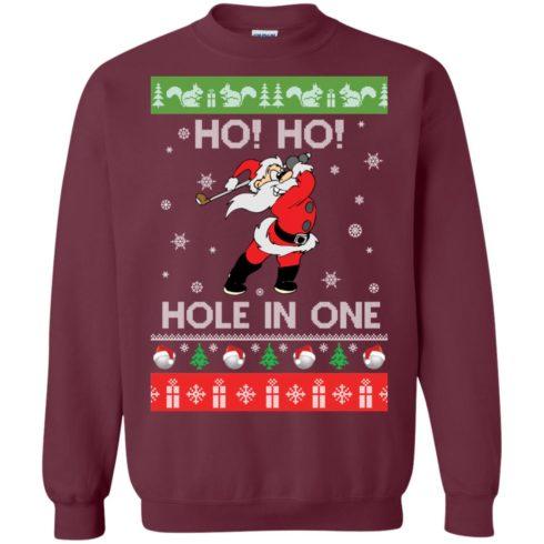 image 140 490x490px Santa Play Golf Ho Ho Hole In One Christmas Sweater