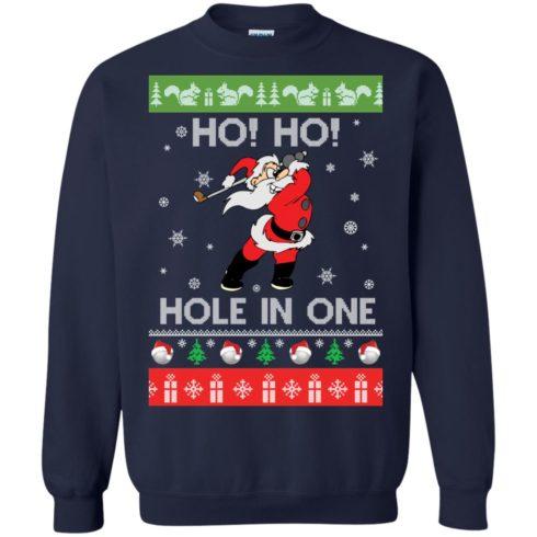 image 141 490x490px Santa Play Golf Ho Ho Hole In One Christmas Sweater