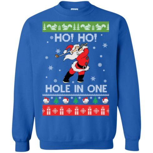image 143 490x490px Santa Play Golf Ho Ho Hole In One Christmas Sweater