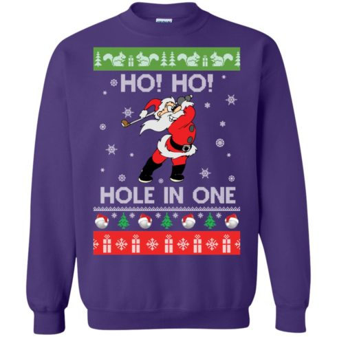 image 144 490x490px Santa Play Golf Ho Ho Hole In One Christmas Sweater