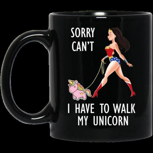 image 2 490x490px Wonder Woman Sorry Cant I Have Walk My Unicorn Coffee Mug