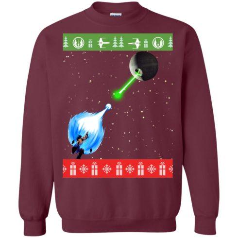 image 234 490x490px Dragon Ball Songoku vs Death Star Mashup Christmas Sweater